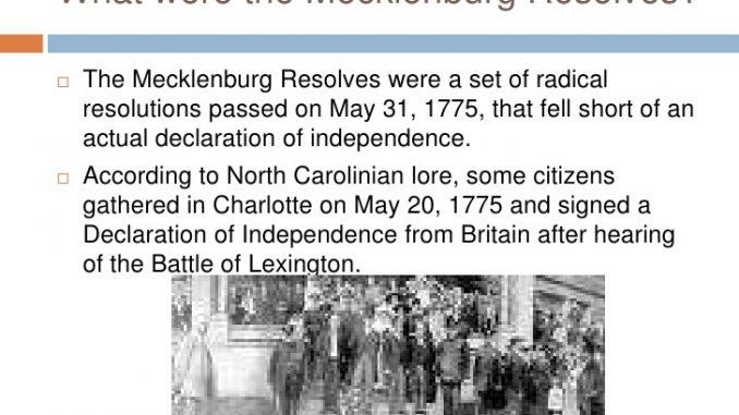 The Mecklenburg Resolves.