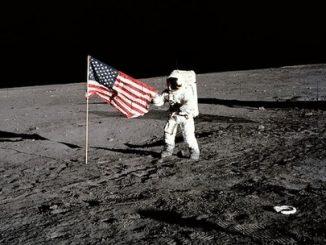 Armstrong walks on moon